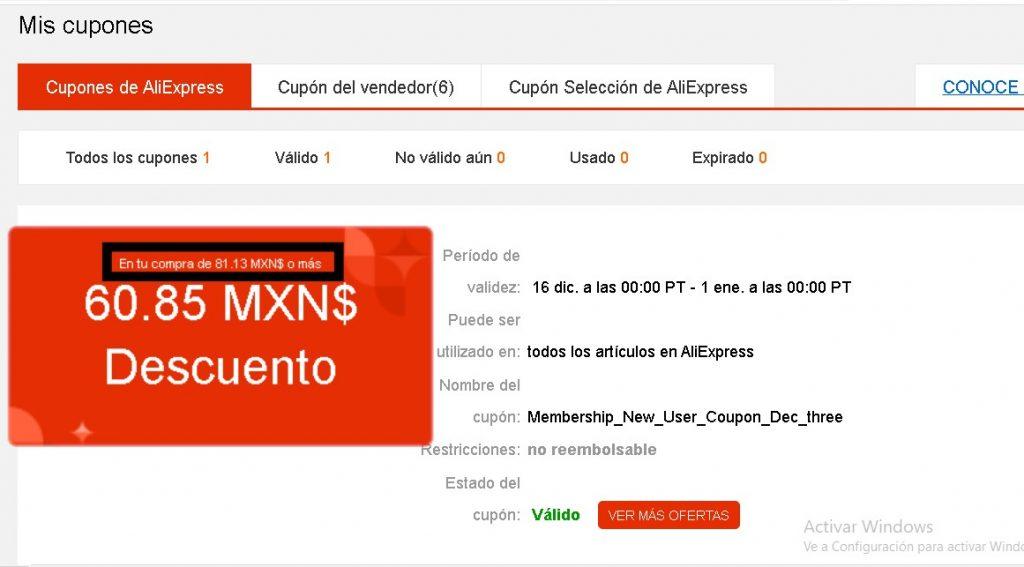 Condiciones de uso de los cupones de AliExpress México