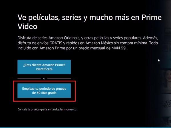 Contratar Amazon Prime Video: paso a paso
