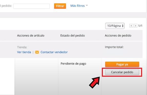 Cancelar pedido no pagado en AliExpress