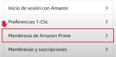 Membresía de Amazon Prime.