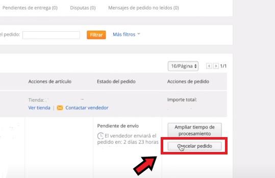 Cancelar pedido en AliExpress desde la página