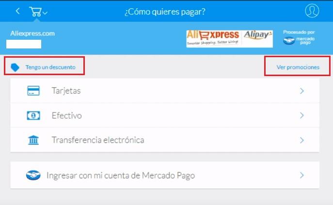 ¿Existen promociones de Mercado Pago en AliExpress?