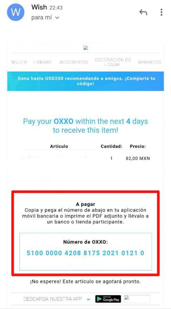 Oxxo como método de pago en Wish