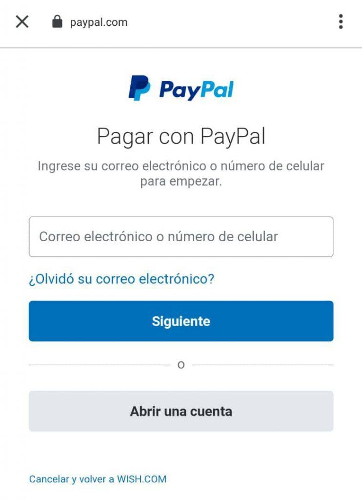 Pagar en Wish con PayPAl