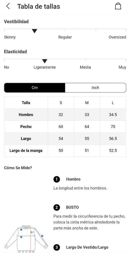 Cómo funcionan las tallas en Shein: Tabla de tallas