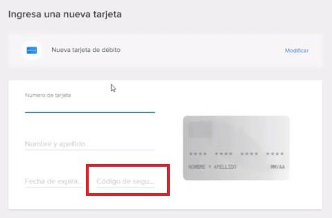 Agregar nueva tarjeta de débito en Mercado Libre.
