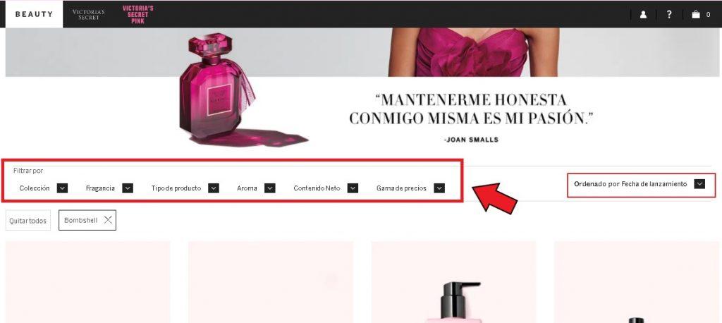 Comprar en Victoria's Secret desde México: Utilizar filtros de búsqueda.