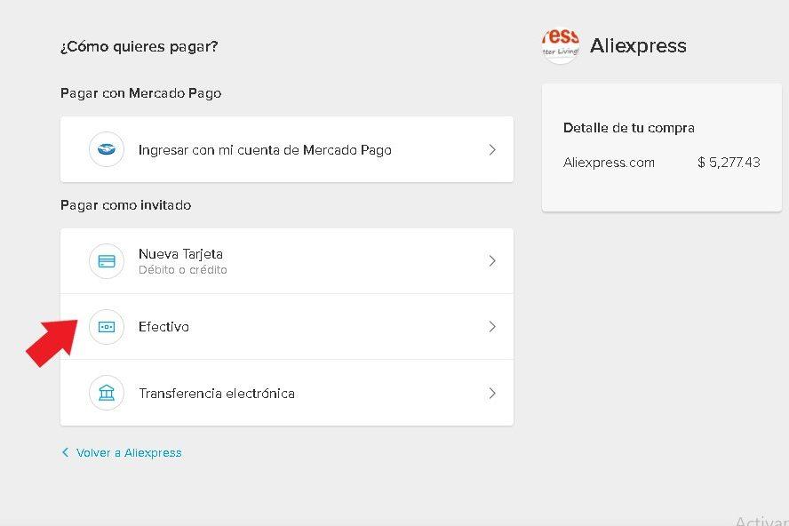 Pagar con efectivo en AliExpress con Mercado Pago México